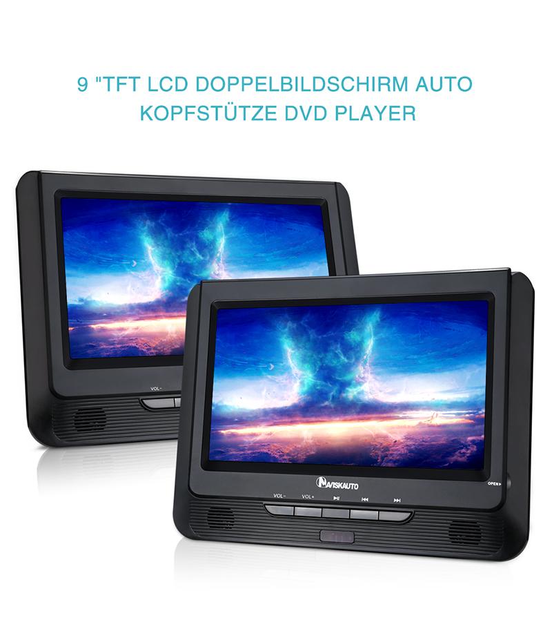 9 zoll tft monitor doppelt bildschirm kopfst tzen auto dvd. Black Bedroom Furniture Sets. Home Design Ideas