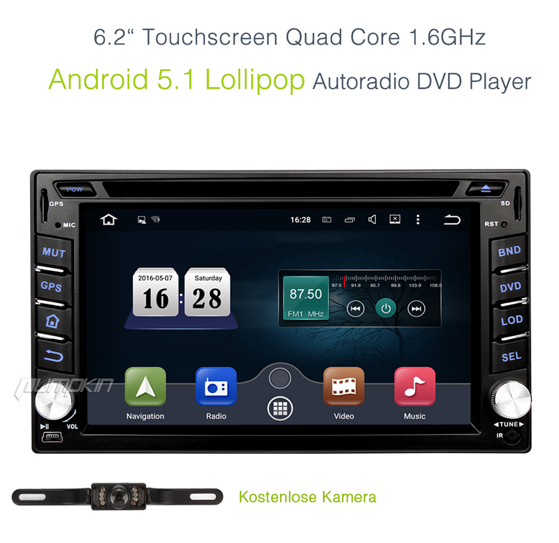 6 2 autoradio android 5 1 2 din quadcore gps navi dvd dab wifi obd2 rds 16g bt ebay. Black Bedroom Furniture Sets. Home Design Ideas