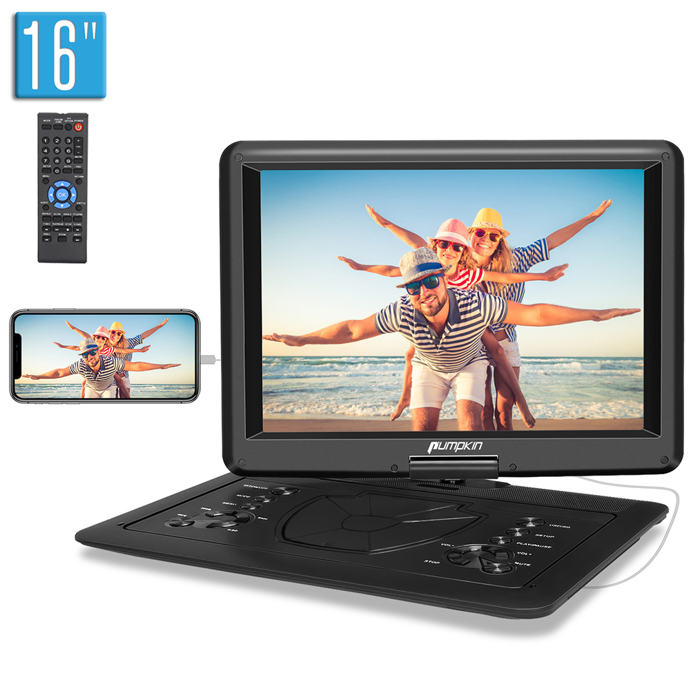 """16"""" Portable DVD Player for Car Large Swivel Screen 6 Hours"""