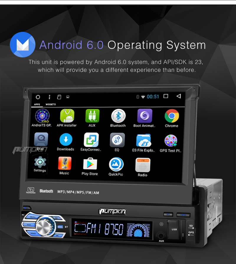 7 android 6 0 single din car radio stereo gps obd 3g. Black Bedroom Furniture Sets. Home Design Ideas