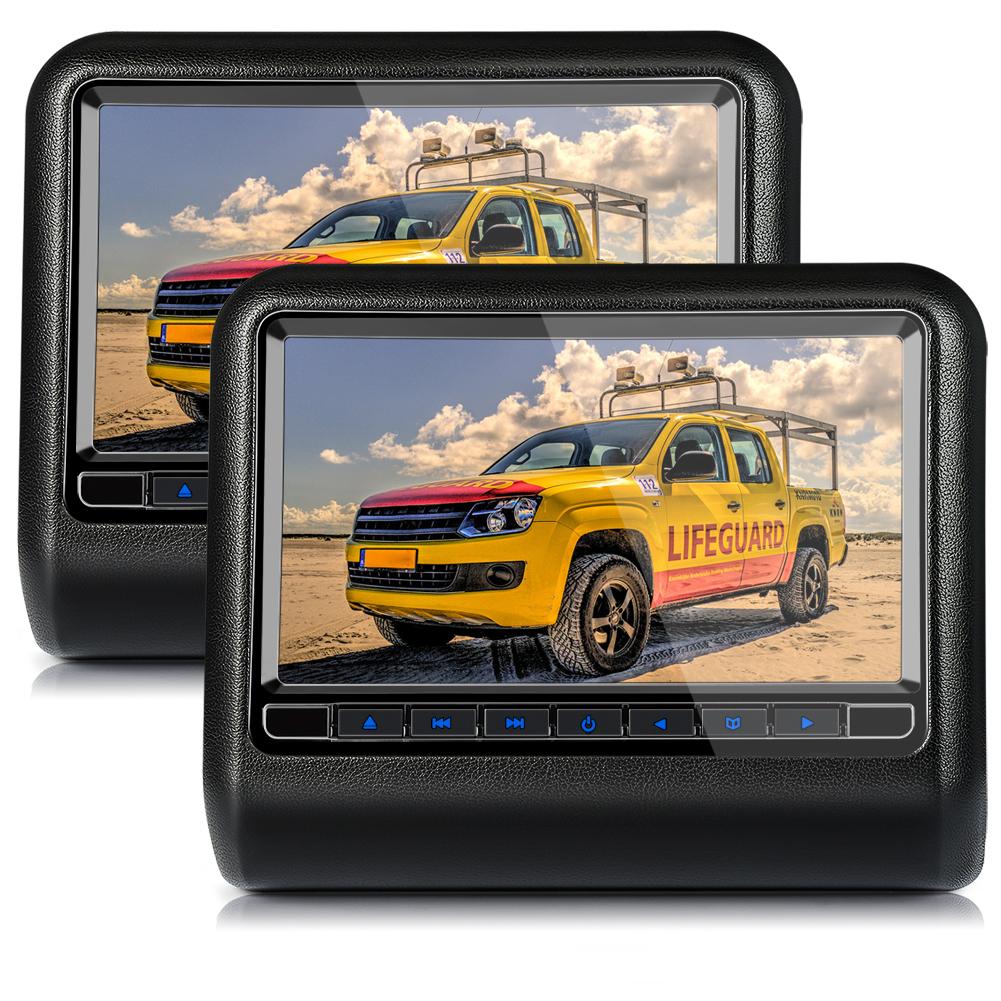 2x 9 zoll lcd tft kopfst tzen auto monitor dvd player fm. Black Bedroom Furniture Sets. Home Design Ideas
