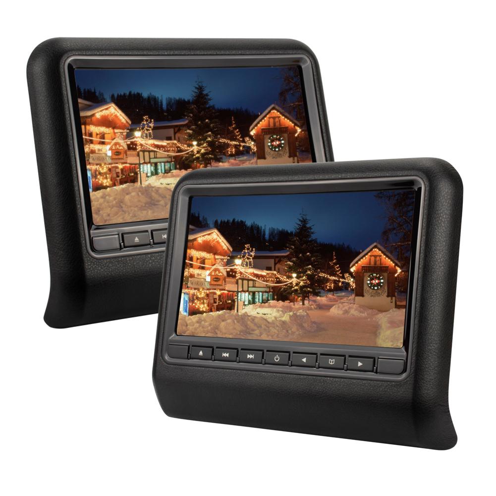 schwarz 2 x 9 zoll tft lcd auto kopfst tze monitor dvd. Black Bedroom Furniture Sets. Home Design Ideas