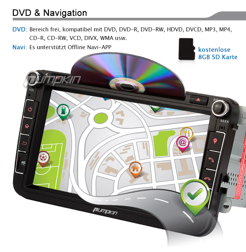 8 zoll autoradio gps navi 2 din dvd player rds sd bt. Black Bedroom Furniture Sets. Home Design Ideas