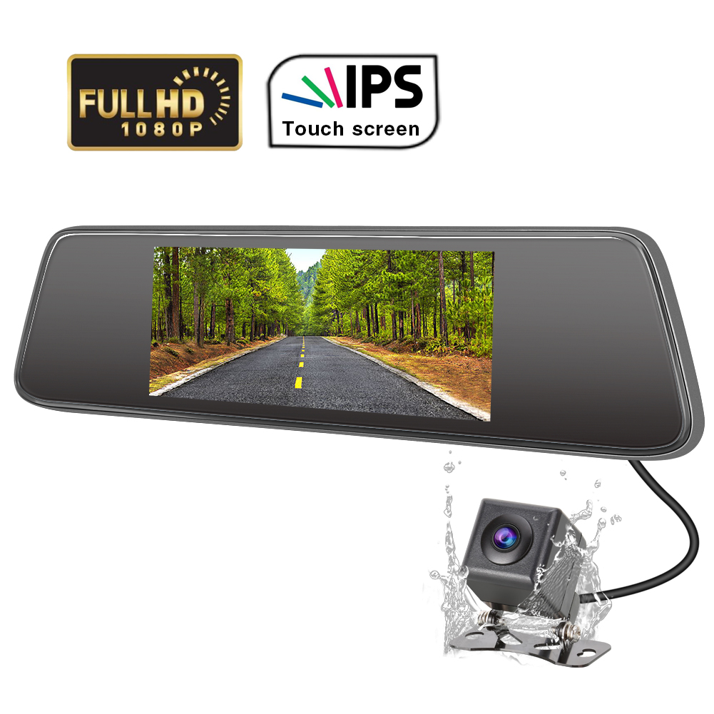 "Dual 1080P Lens Mirror DashCam 7/"" IPS Touch Screen Rear View Car Camera"