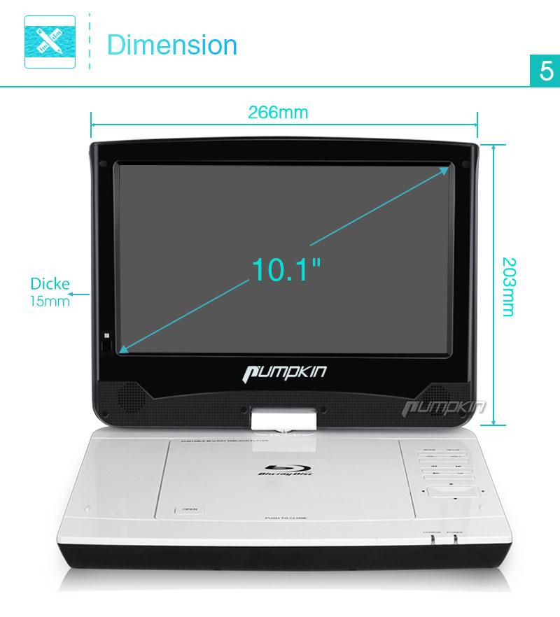 10 1 tragbarer blu ray dvd player 1080p video auto. Black Bedroom Furniture Sets. Home Design Ideas